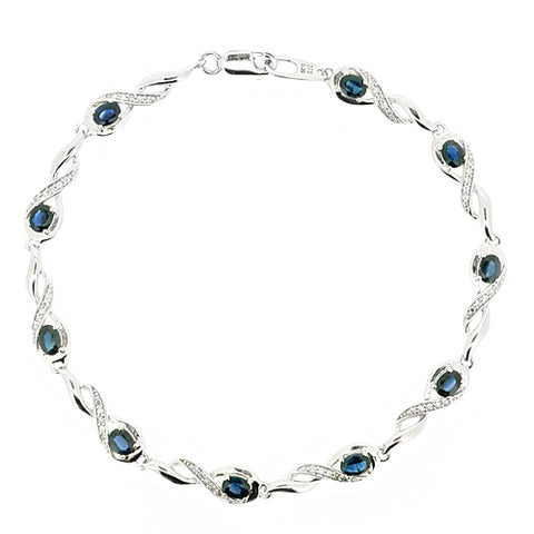 Sapphire and diamond bracelet in 9ct white gold
