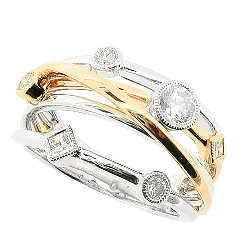 Diamond set multi row dress ring in 18ct white and rose gold, 0.42ct
