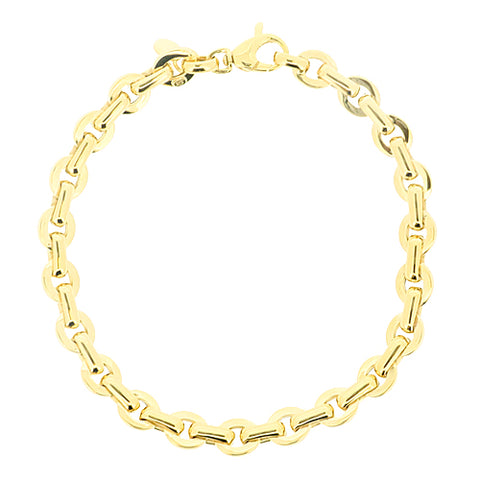Round link bracelet in 9ct gold