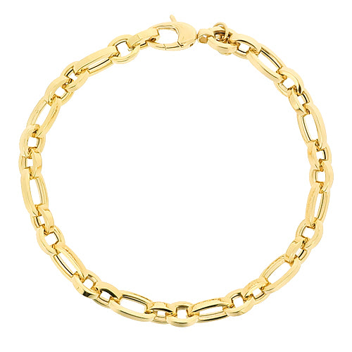 Oval and round link bracelet in 9ct gold
