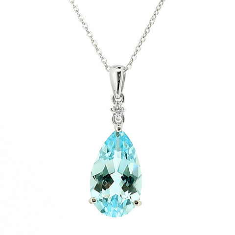 Blue Topaz and diamond pendant and chain in 9ct white gold