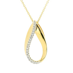 Diamond teardrop pendant and chain in 9ct gold, 0.10ct