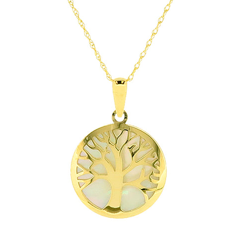 Mother of pearl tree of life pendant and chain in 9ct gold
