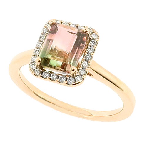 Watermelon Tourmaline and diamond halo cluster ring in 18ct rose gold
