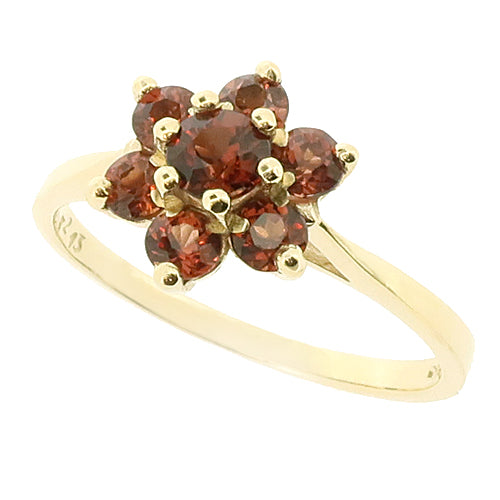 Garnet floral cluster ring in 9ct gold