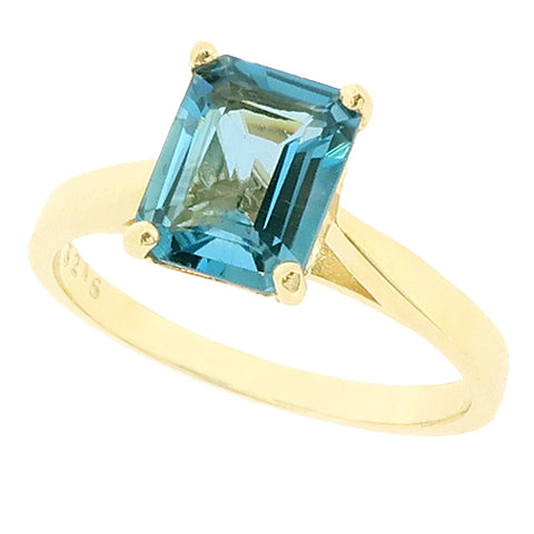 Blue Topaz solitaire ring in 9ct gold