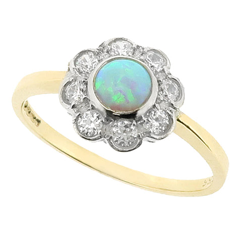Simulated opal and cubic zirconia cluster ring in 9ct gold