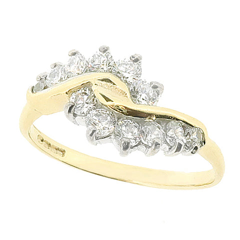 Cubic zirconia twist cluster ring in 9ct gold