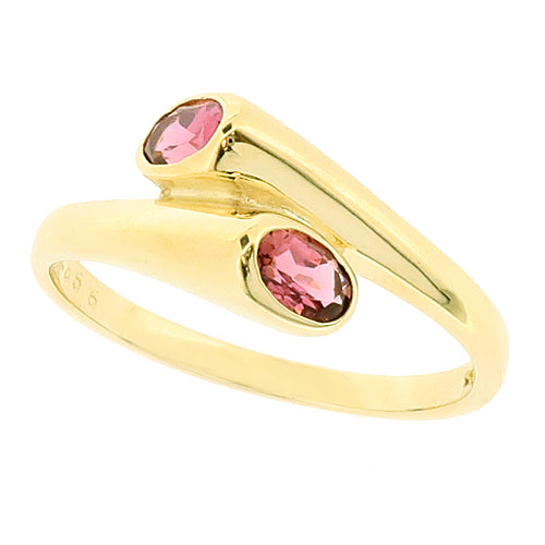 Pink tourmaline two-stone crossover ring in 9ct gold