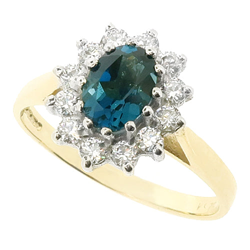 Blue Topaz and cubic zirconia cluster ring in 9ct gold