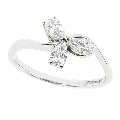 Cubic zirconia three stone ring in 9ct white gold