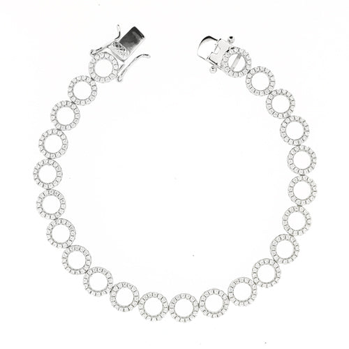 Cubic zirconia open circle bracelet in silver