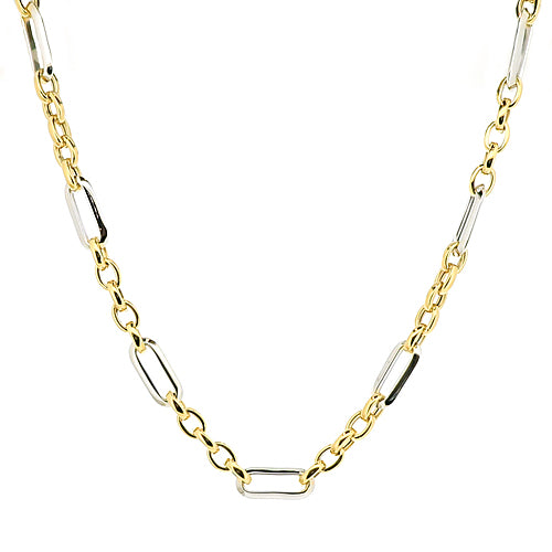 Open link chain in 9ct yellow and white gold
