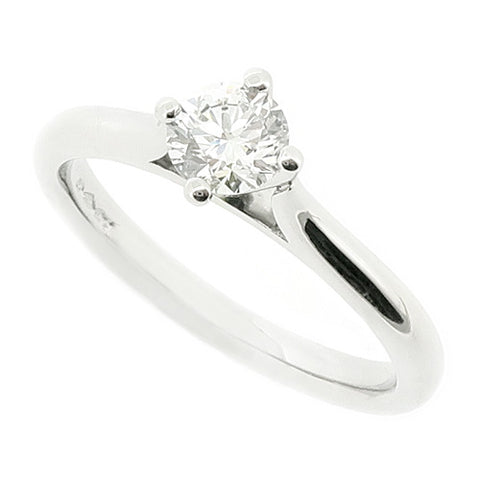 Brilliant cut diamond solitaire ring in platinum, 0.41ct