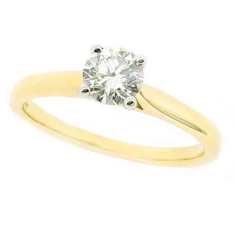 Brilliant cut diamond solitaire ring in 18ct gold and platinum, 0.46ct