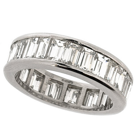 Baguette cut diamond full eternity band in platinum, 6.00ct