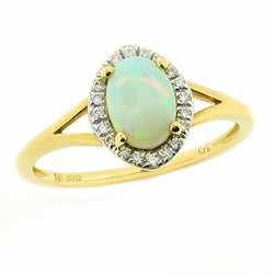 Opal and diamond cluster ring in 9ct gold