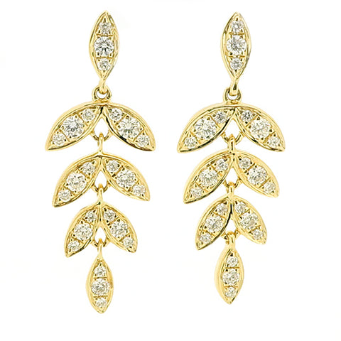 Diamond 'barleycorn' drop earrings in 18ct yellow gold, 0.45ct