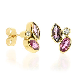 Amethyst, pink sapphire and diamond cluster earrings in 9ct gold