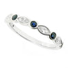 Sapphire and diamond half eternity ring in platinum