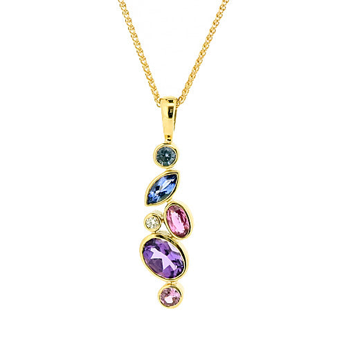 Multi-gemstone pendant and chain in 9ct yellow gold