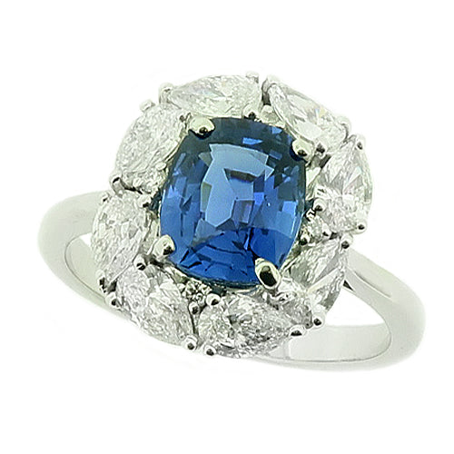 Sapphire and diamond cluster ring in 18ct white gold