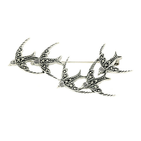 Marcasite swallows brooch in silver