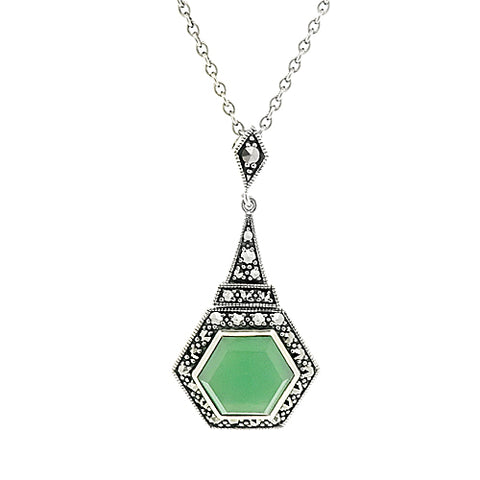 Jade and marcasite pendant and chain in silver