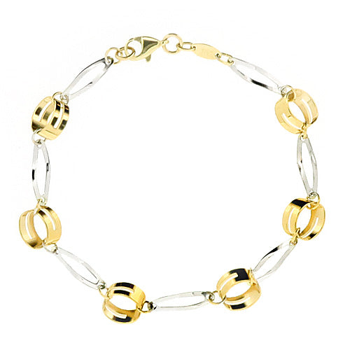 Open link bracelet in 9ct yellow and white gold