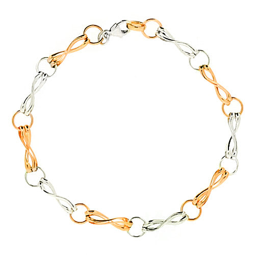 Fancy twisted link bracelet in 9ct rose and white gold