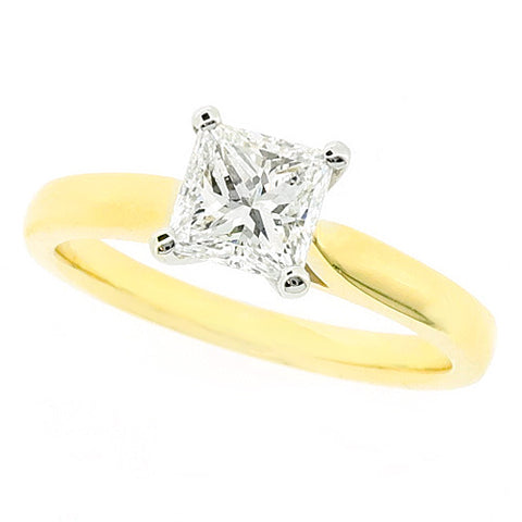 Princess cut diamond solitaire ring in 18ct gold and platinum, 0.75ct