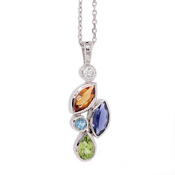 Multi-gemstone pendant and chain in 9ct white gold