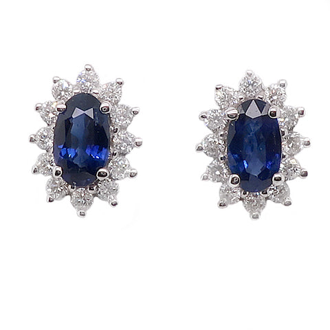 Sapphire and diamond cluster earrings in 9ct white gold