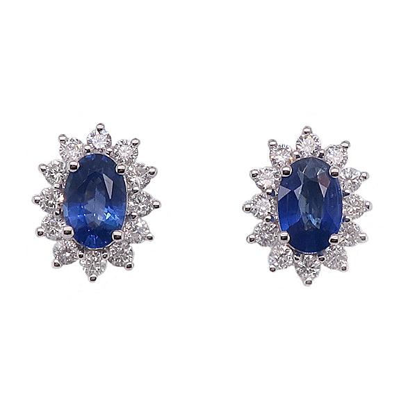 Sapphire and diamond cluster earrings in 18ct white gold