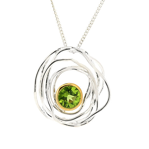 Peridot 'bird's nest' pendant and chain in silver