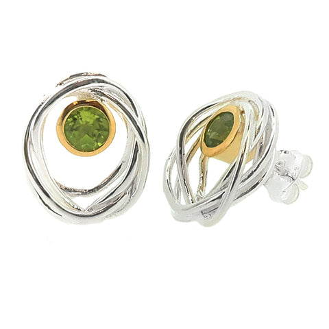 Peridot 'bird's nest' earrings in silver