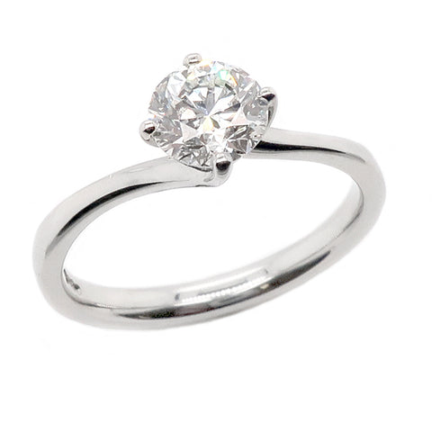 Brilliant cut diamond twist solitaire ring in platinum, 0.84ct