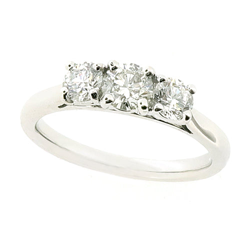 Brilliant cut diamond three stone ring in platinum, 0.75ct