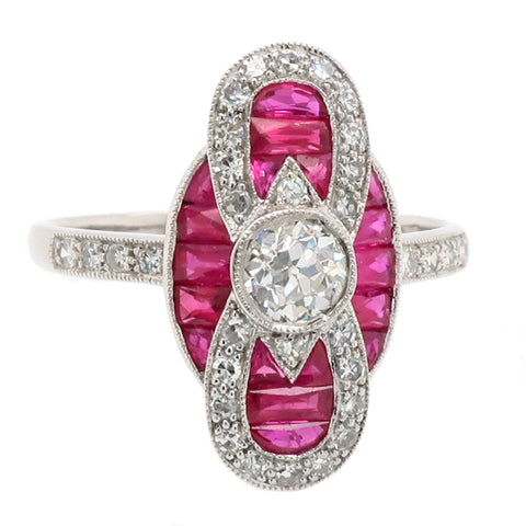 Ruby and diamond art-deco style cluster ring in 18ct white gold
