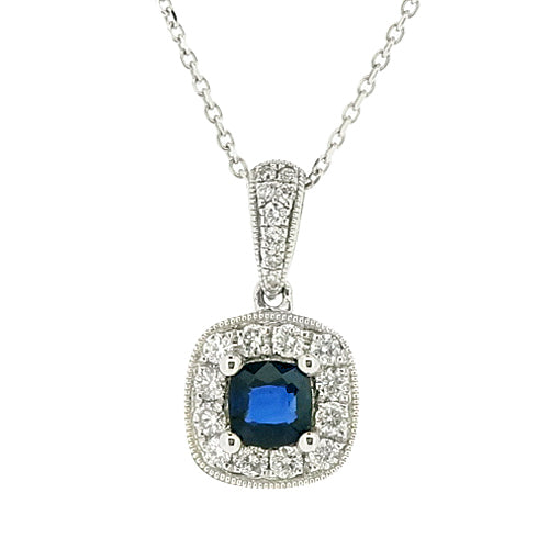 Sapphire and diamond pendant and chain in 18ct white gold