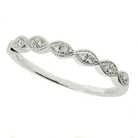 Marquise detail diamond half eternity ring in platinum, 0.12ct