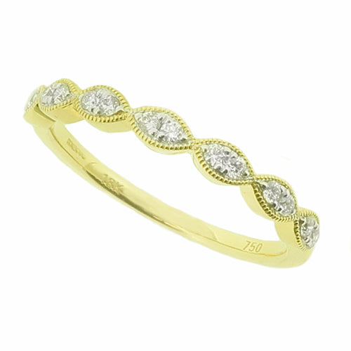 Marquise detail diamond half eternity ring in 18ct gold, 0.12ct