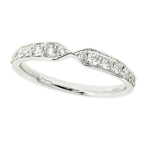 Bow shaped diamond band ring in platinum, 0.31ct