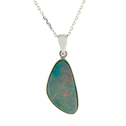 Freeform opal doublet pendant and chain in 9ct white gold