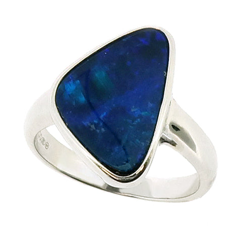 Freeform opal doublet dress ring in silver