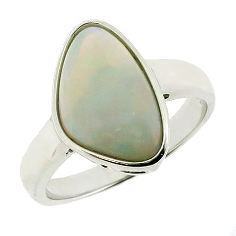 Freeform white opal dress ring in silver