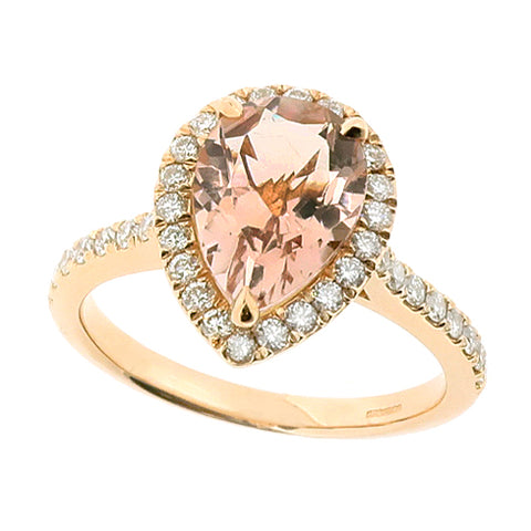 Morganite and diamond halo cluster ring in 18ct rose gold