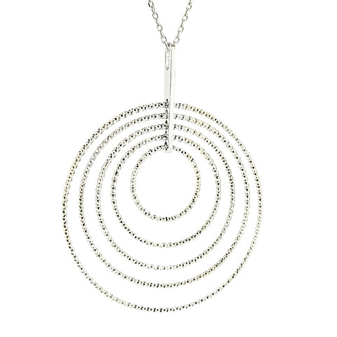 Sparkling concentric circle pendant and chain in silver