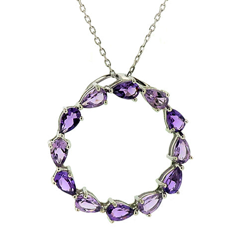 Circular amethyst pendant and chain in silver