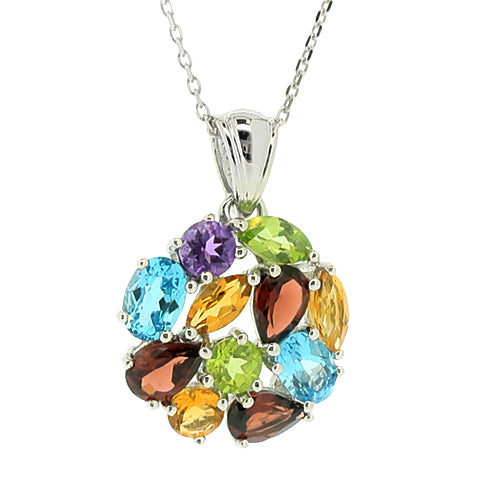 Multi-gemstone cluster pendant and chain in silver